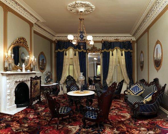 Темная роскошная гостиная в городской квартире