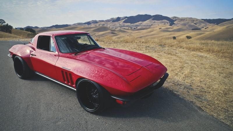 1920x1080 Обои corvette, c2, restomod, красный, вид сбоку