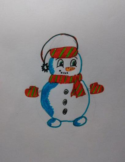 Как нарисовать милого снеговичка в шарфике