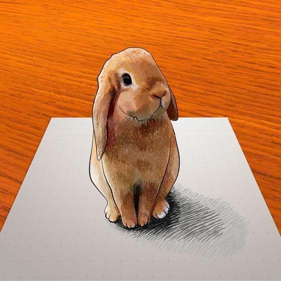 Как научиться рисовать 3D кролика карандашом на бумаге поэтапно