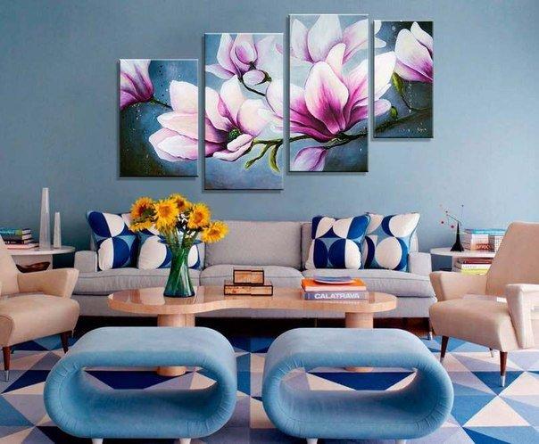 Модульные картины для интерьера. Выбор модульных картин для гостиной и кухни  | LS