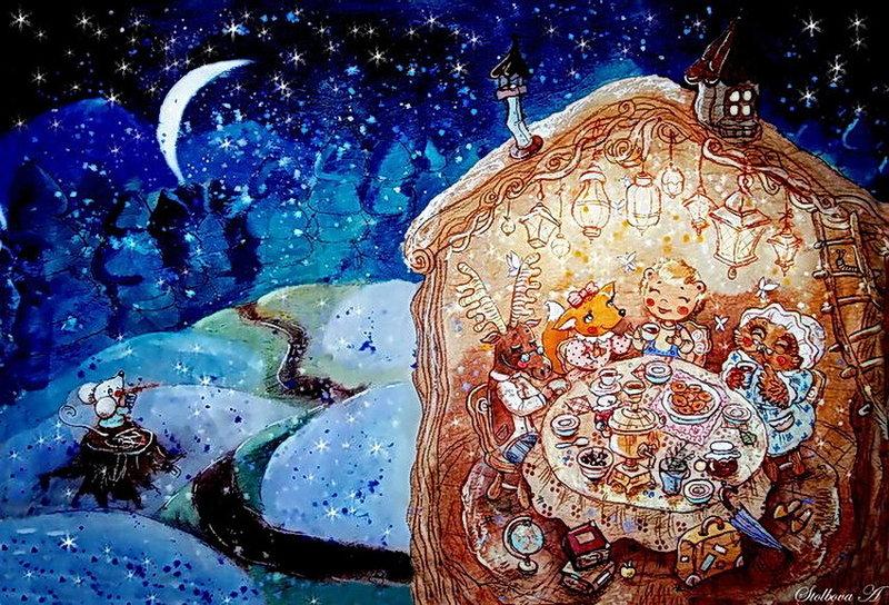 Прогулка по снежинкам.... Время чудес начинается.... Художник - иллюстратор Анастасия Столбова. Обсуждение на LiveInternet - Российский Сервис Онлайн-Дневников