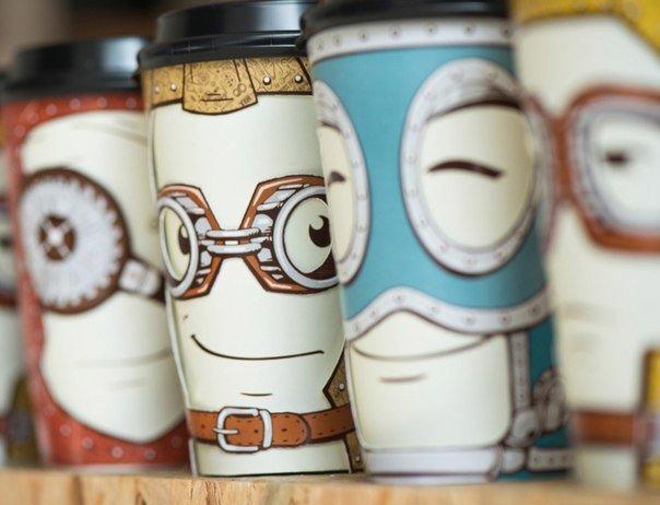Рекламные персонажи — стаканчики для кофе