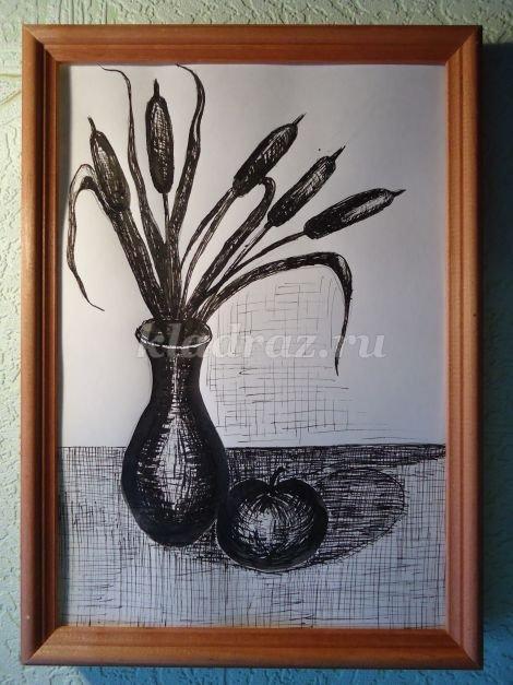 Рисование натюрморта тушью поэтапно для начинающих