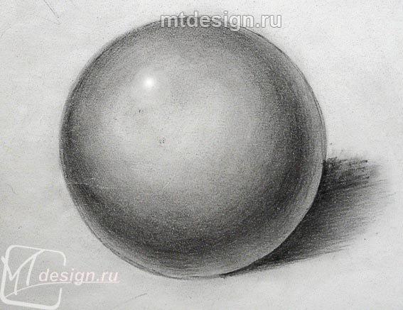 Шар, нарисованный карандашом