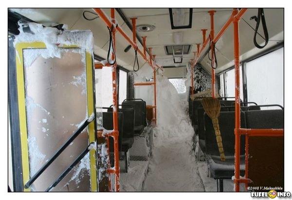 Суровый общественный транспорт в Норильске (17 фото)