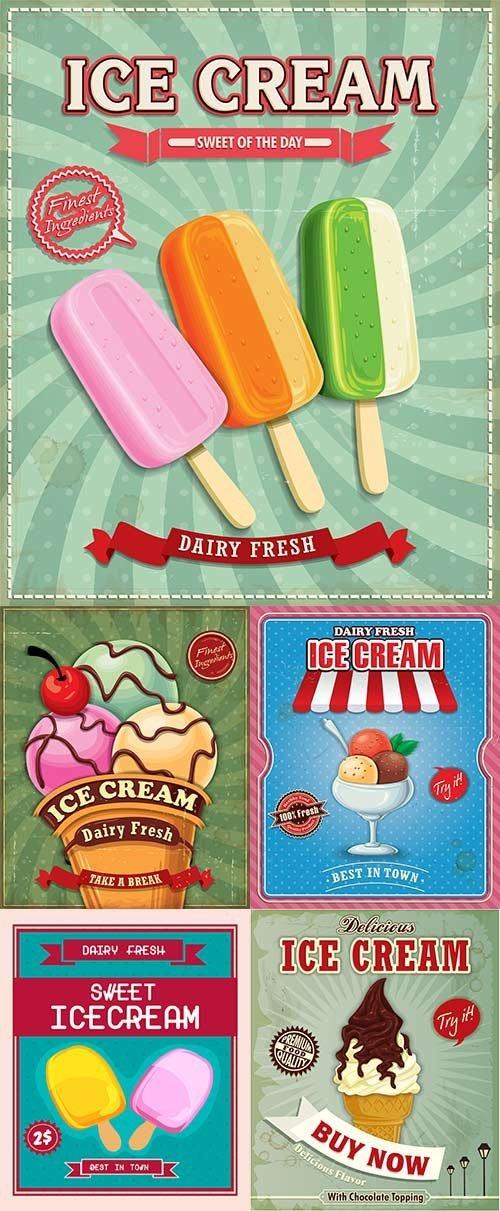 Винтажные постеры мороженого в векторе