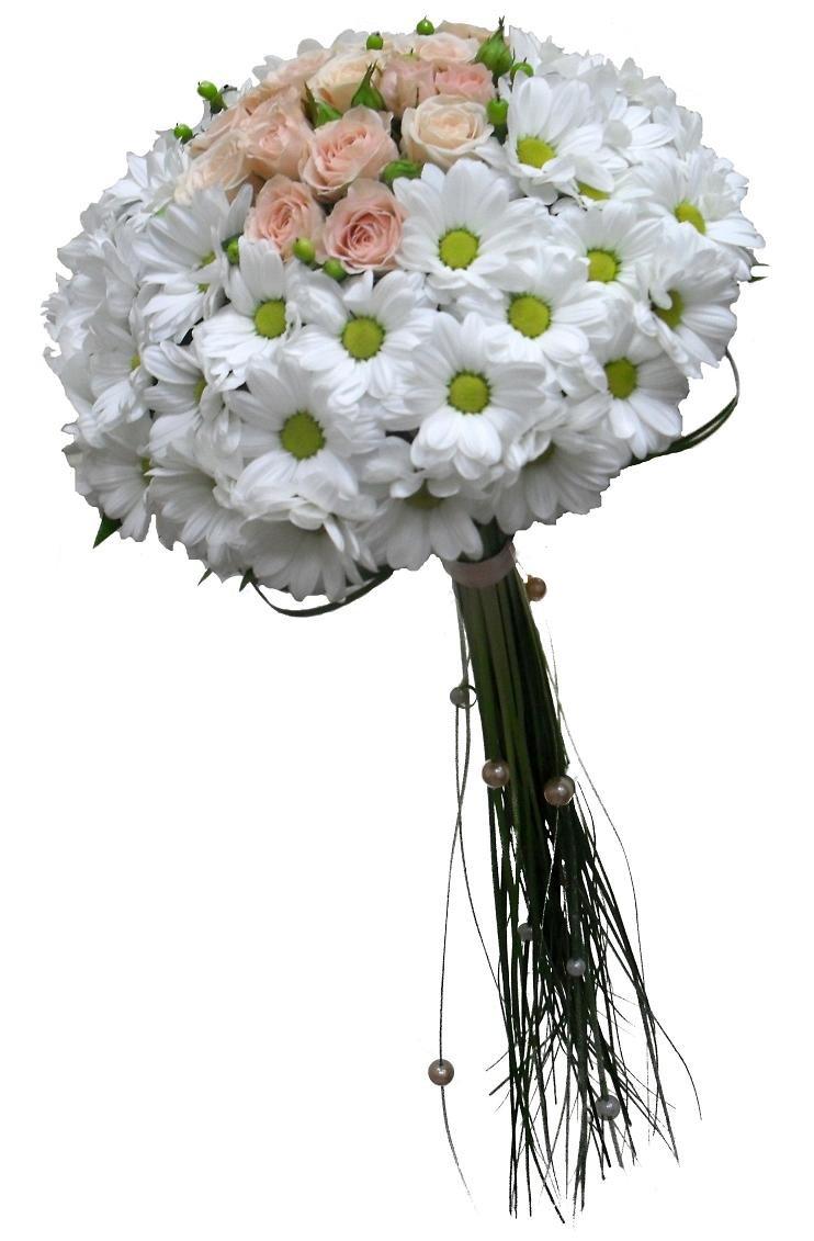 Букет из розовых хризантем и белых роз