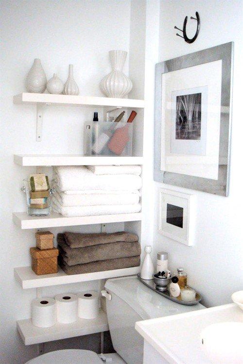 аксессуары для ванной - простые белые полочки