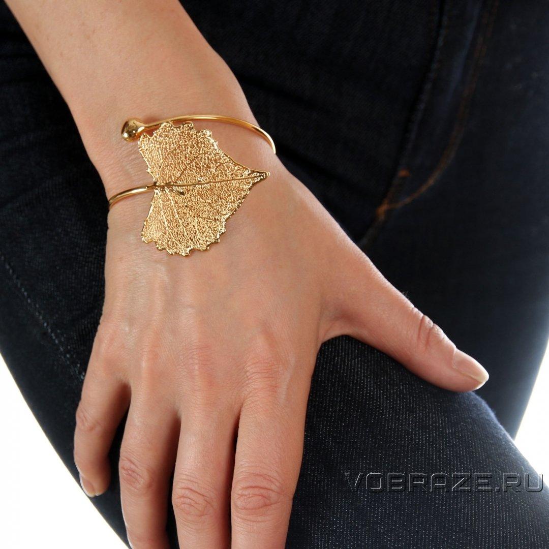 Браслет из листа Тополя золото (филигрань) - LF34BRg