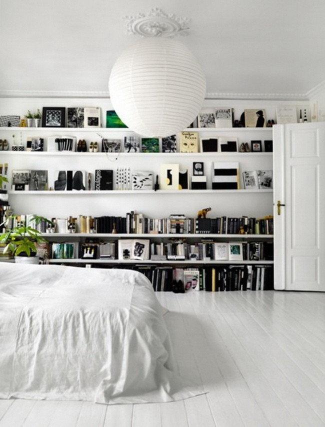 Книжные полки в интерьере   Настенные полки для книг в интерьере, фото