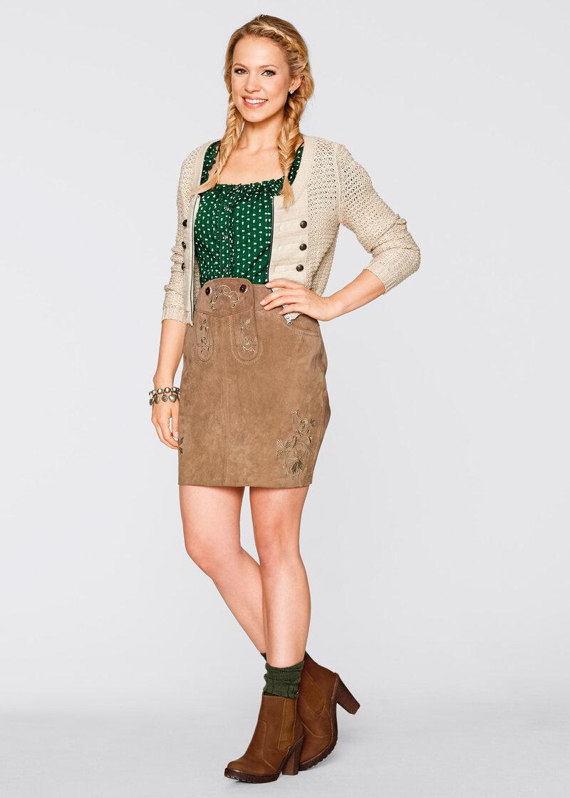 Кожаная юбка с вышивками, bpc bonprix collection, светло-коричневый