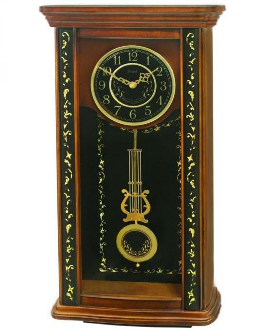 Купить Настенные часы кварцевые с маятником в деревянном корпусе с боем Россия 134697292