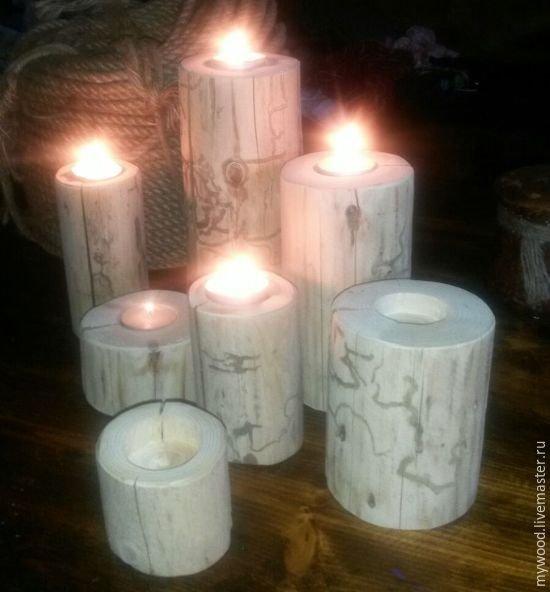Купить подсвечники - белый, праздничный декор, новогодний подарок, подарок на любой случай, подсвечник из дерева