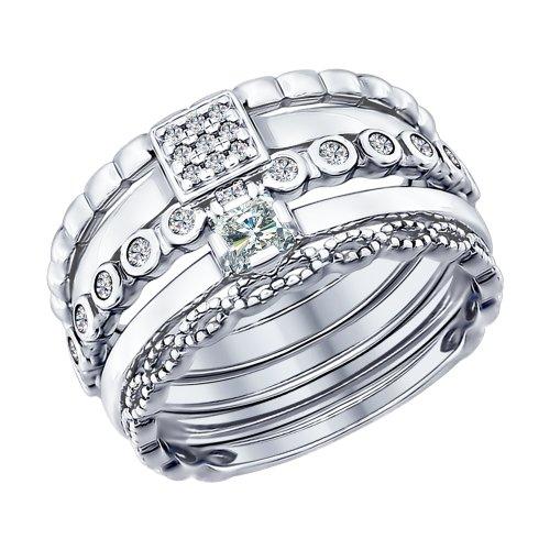 Наборное кольцо из серебра с фианитами