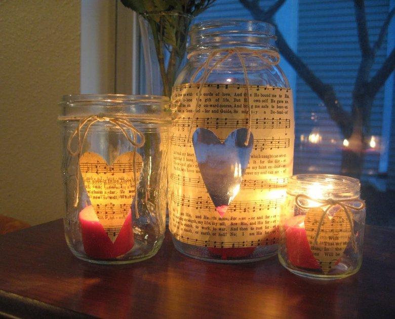 Новогодние подсвечник из баночек (фото)