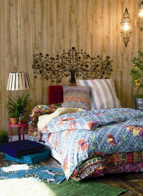 Простой стиль бохо в спальне фото