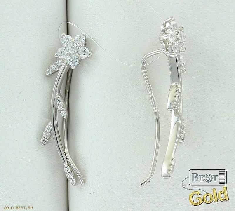 Серебряные серьги с фианитами [31-264468] - Производитель: SOKOLOV | Магазин ювелирных изделий - Gold-Best.ru