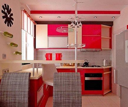 Теплые красные тона в интерьере кухни