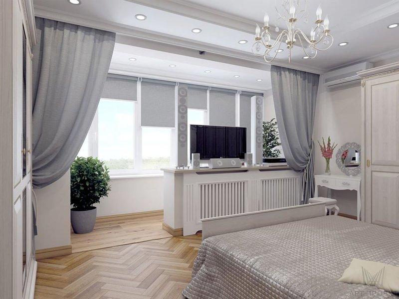 Визуализация интерьера спальни. Ракурс 1