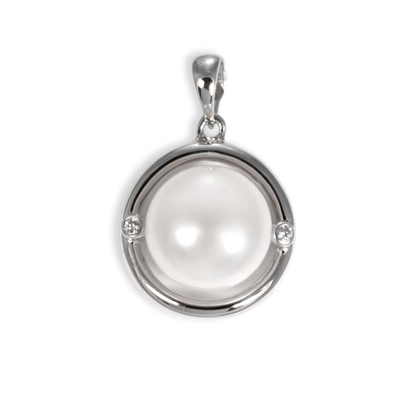 Жемчужина в круглой подвеске из серебра с двумя цирконами