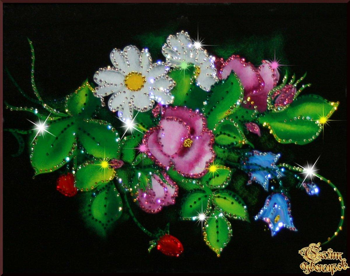 Открытки цветы блестящие