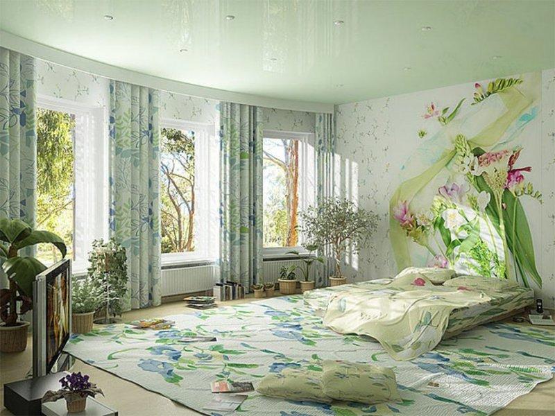 Цветочные фотообои для спальни.