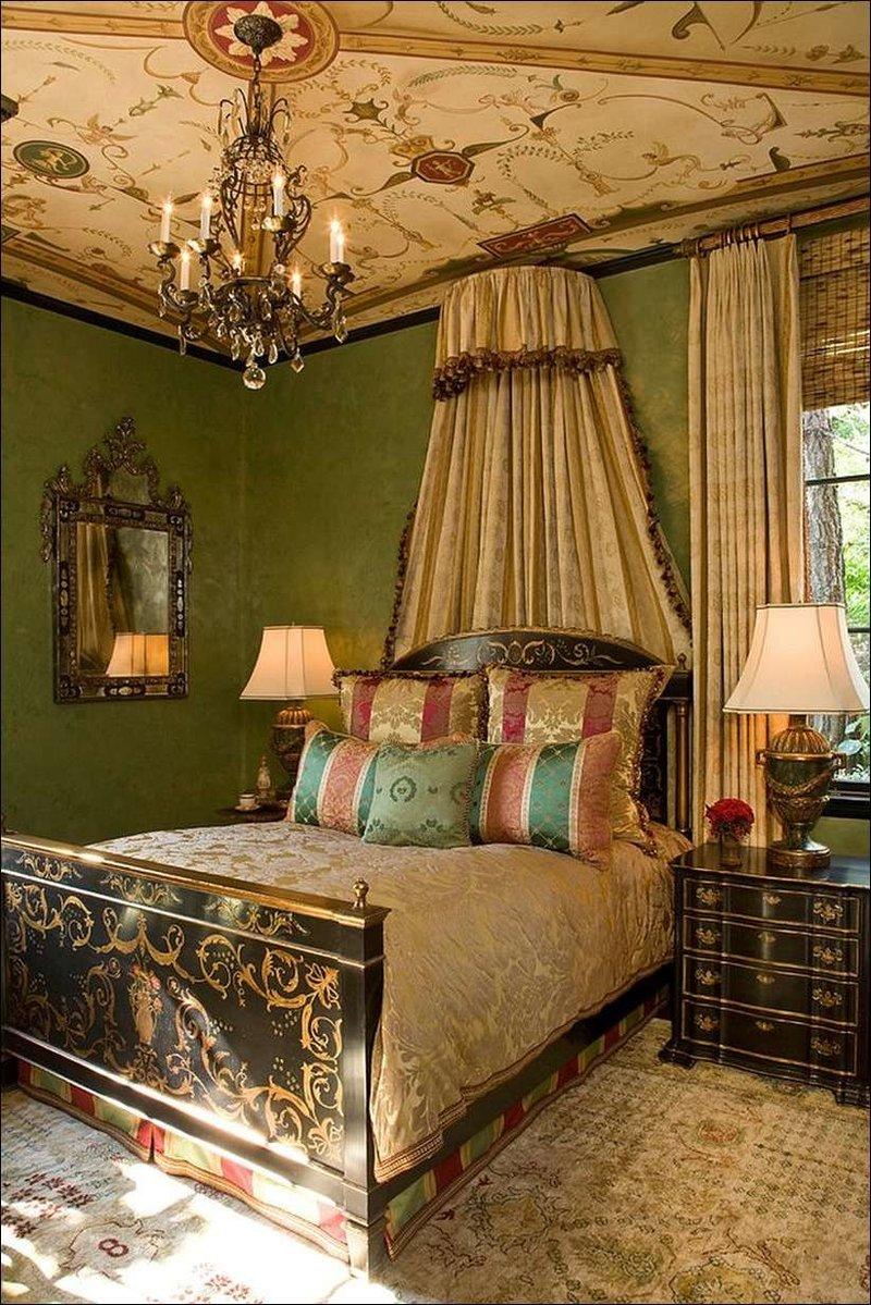Великолепное использование цвета и блестящего освещения в спальнях