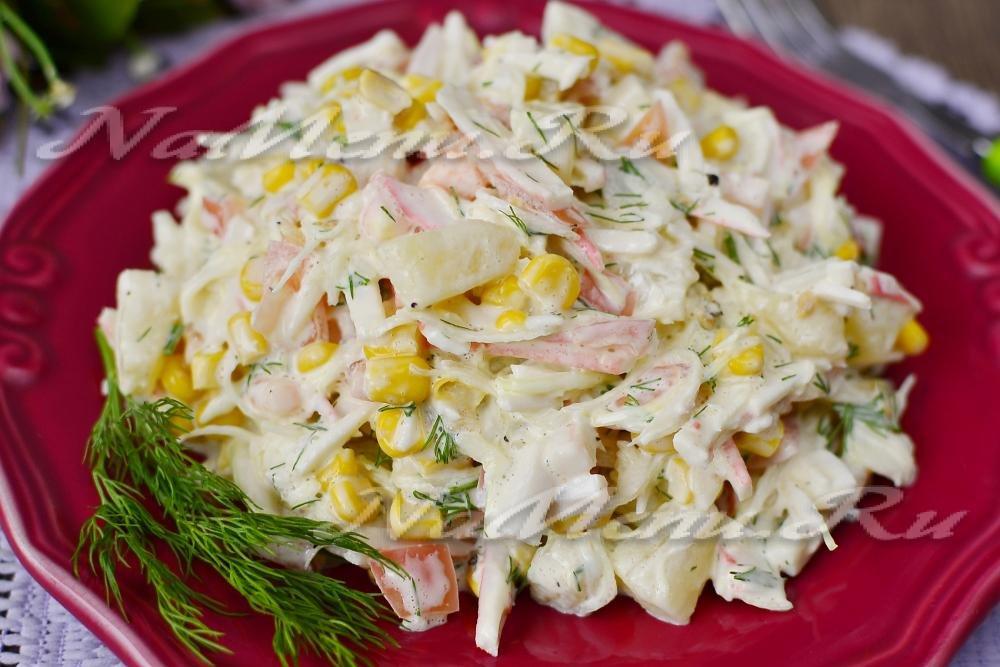 салат с капустой крабовыми палочками и кукурузой классический рецепт