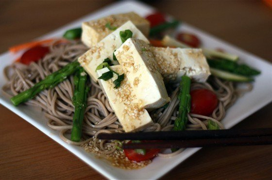 Гречневая лапша с томатами, тофу и базиликом рецепт с фото