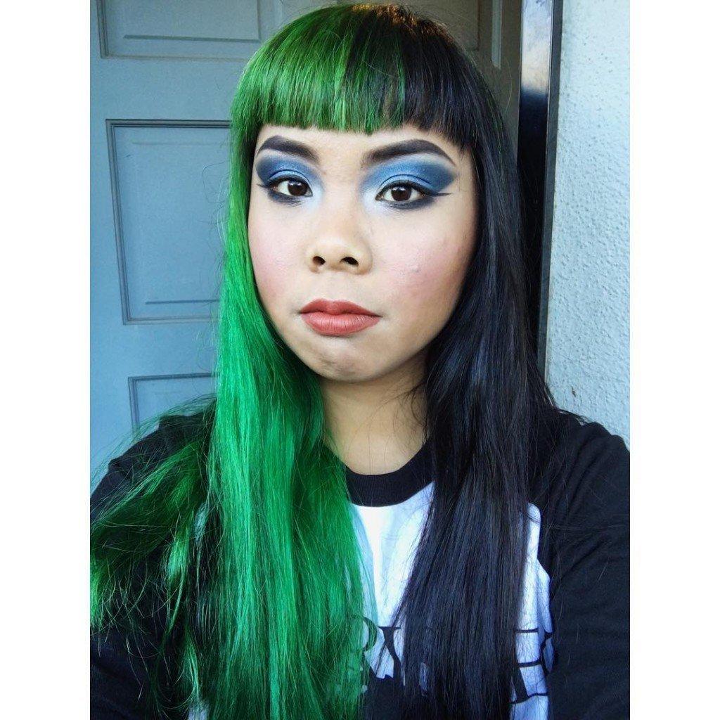 Iguana Green And Black Split Hair