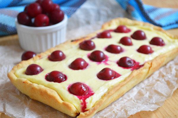 Творожный тарт с вишнями