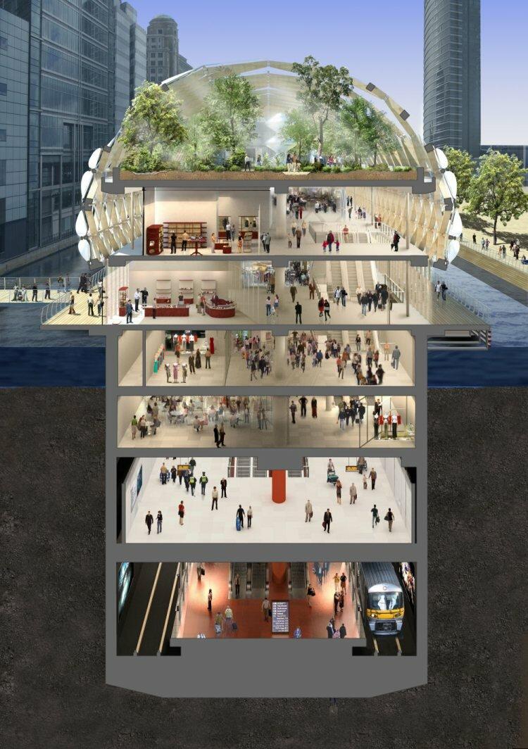 Canary Wharf Station — станция подземки (Лондон, Великобритания).