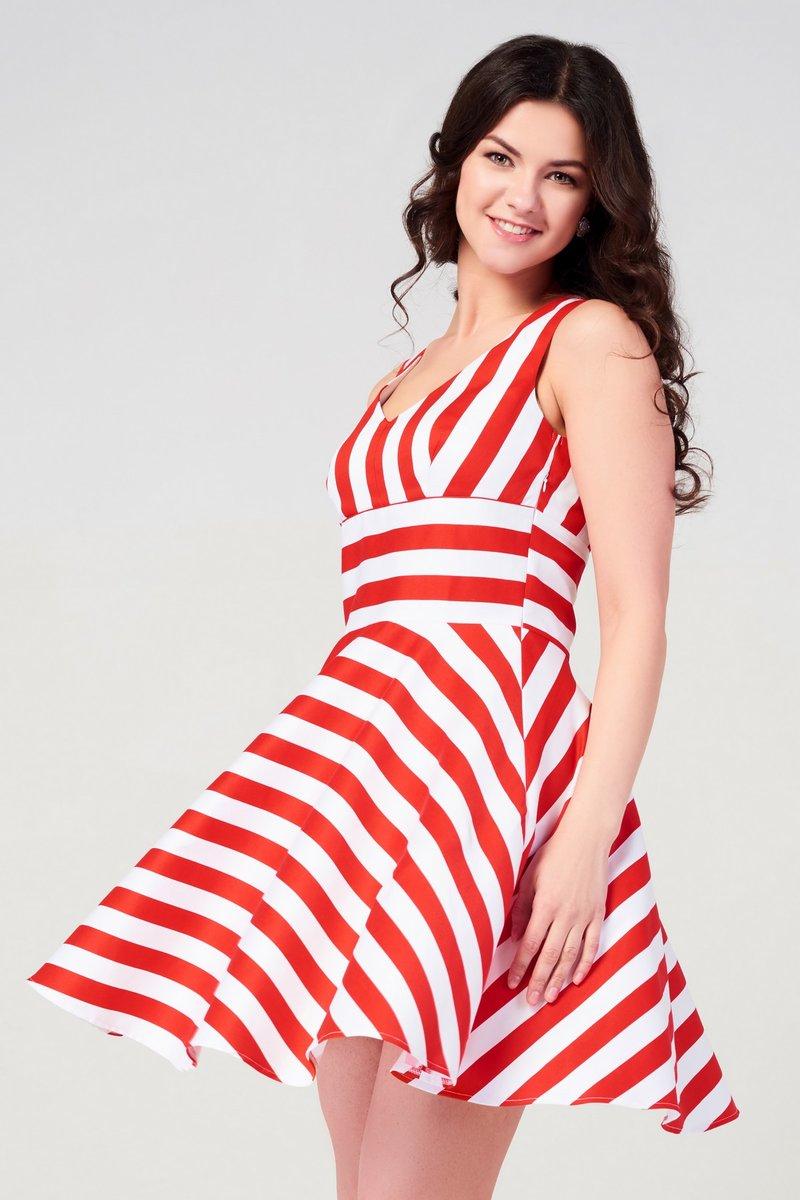 Красно белая полоска платье для