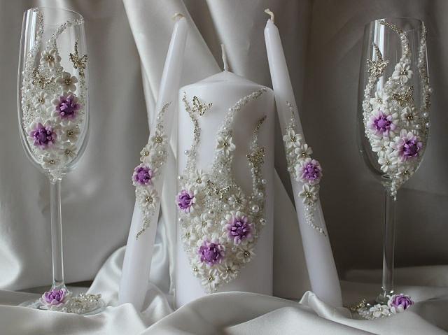 цветочные бокалы и свечи