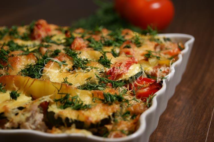Запеканка с мясом и овощами