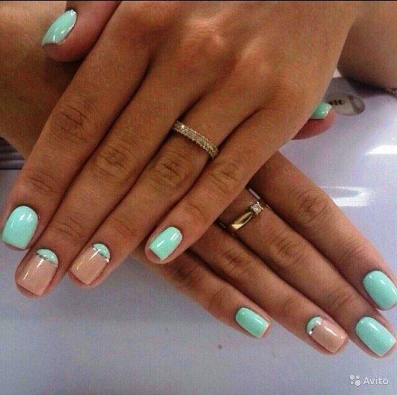 Мята дизайн ногтей