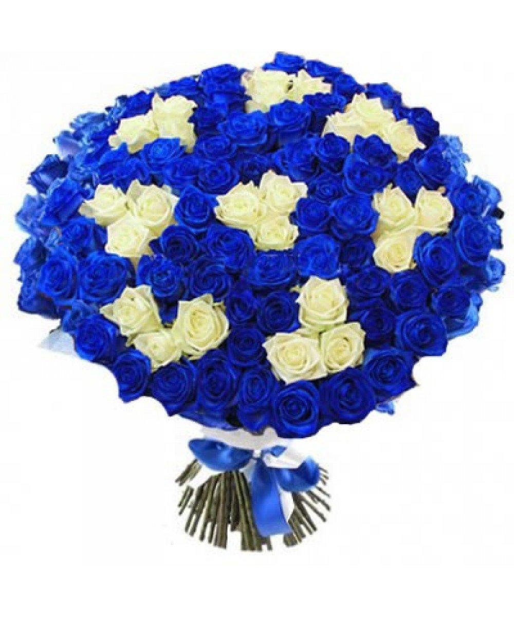 Цветы доставкой, букет из синих французских роз