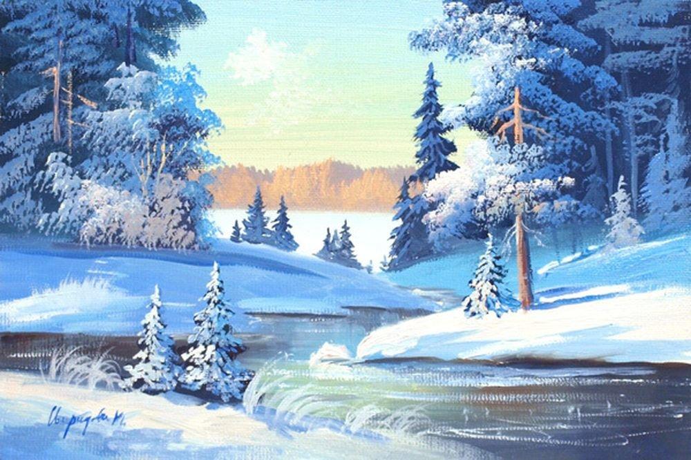 картинки зимние пейзажи рисовать этого