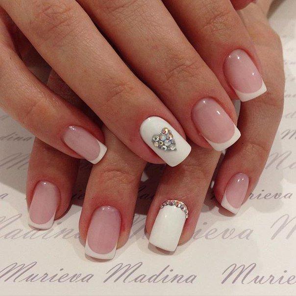 ногти розовые фото с белым