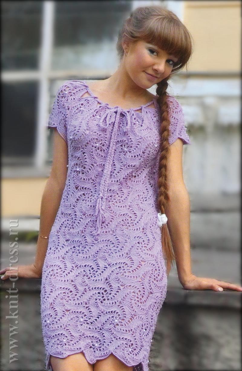 вязаное платье крючком для молодой девушки