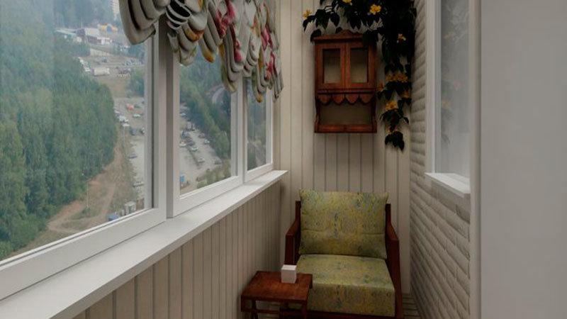 Балкон в хрущевке облицованный современными материалами белы.