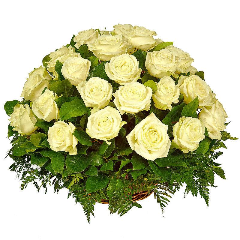Картинки, открытка корзина с белыми розами
