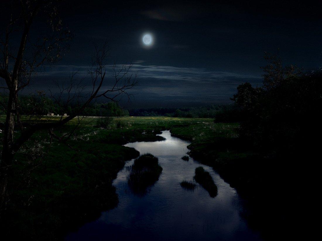 Река ночью картинки