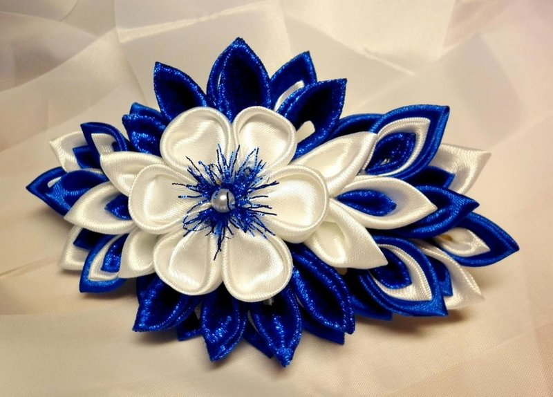 Фото цветка канзаши синего 49