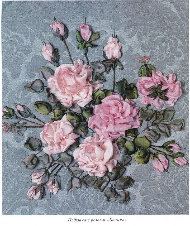 Розы вышитые лентами