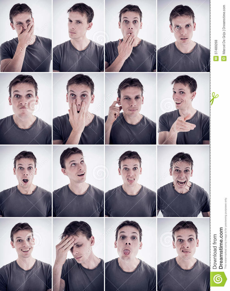 Man Showing Different Emotions Or Expressions Royalty Free Stock Photos - Image: 37489268 Man showing different emotions or expressions