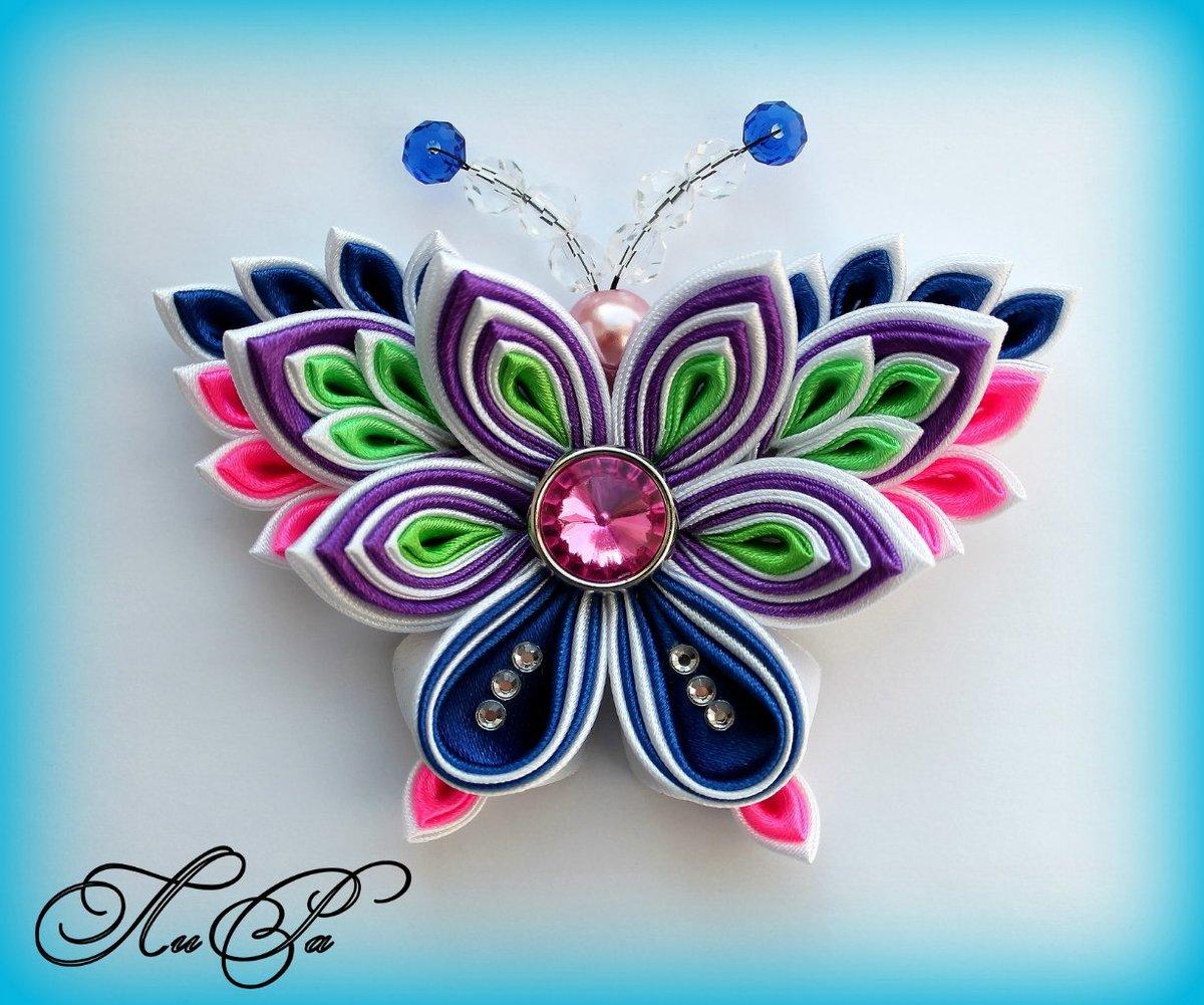 Бабочки из лент на открытку