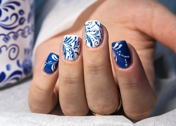 Ногти дизайн синего цвета
