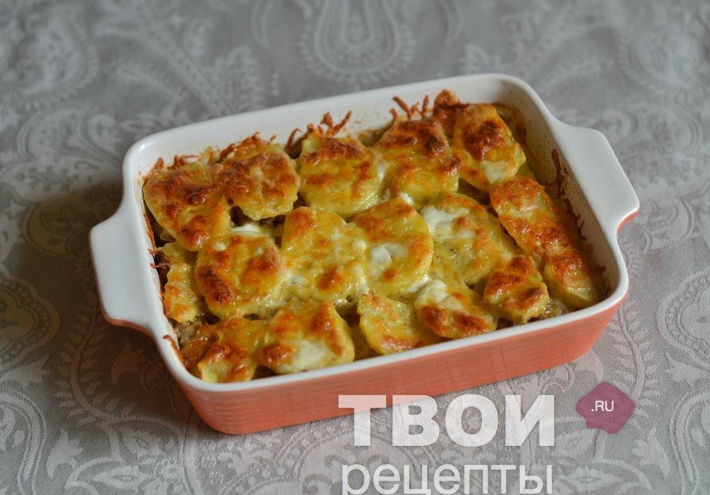 Картофельная запеканка с фаршем на сковороде рецепт